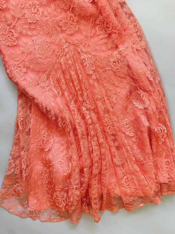 1930's Peach Lace Gown  - Vintage 30's Art Deco P… - image 5