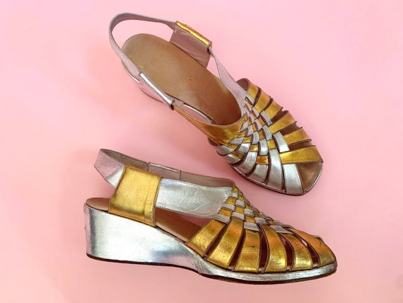 1940's Gold & Silver Sandals - Vintage 40's Two To