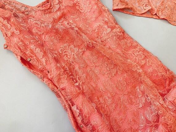 1930's Peach Lace Gown  - Vintage 30's Art Deco P… - image 4