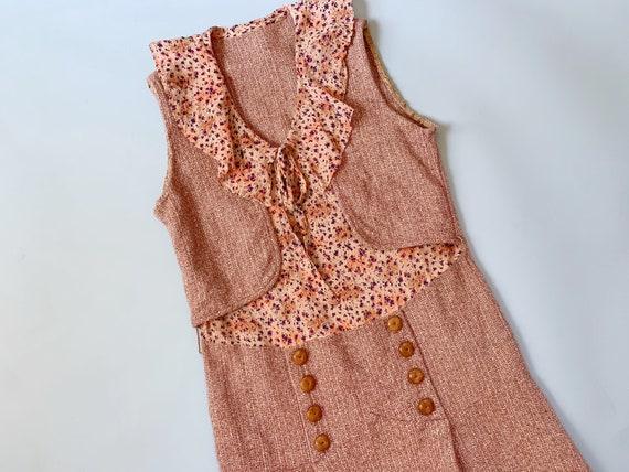 1930's Wool & Silk Dress - Vintage 30's Brown Twee