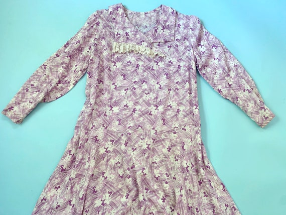 1930's Rayon Day Dress - Vintage 30's Purple & Whi