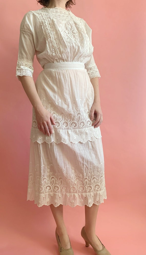 Edwardian Lawn Dress - Antique 1910's White Cotton