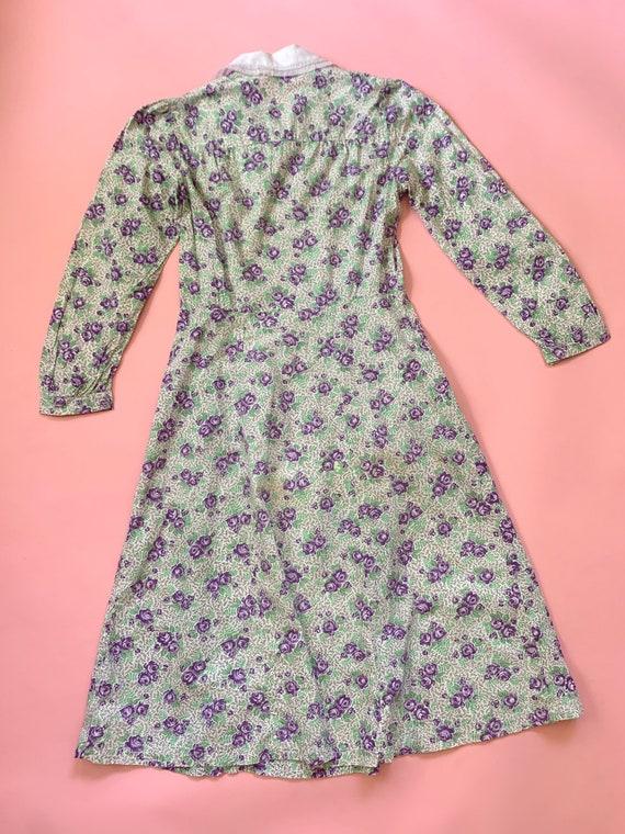 1930's Floral Cotton Day Dress - Vintage 30's Gre… - image 5