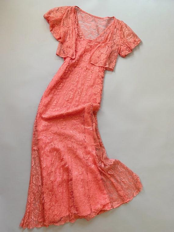 1930's Peach Lace Gown  - Vintage 30's Art Deco P… - image 2