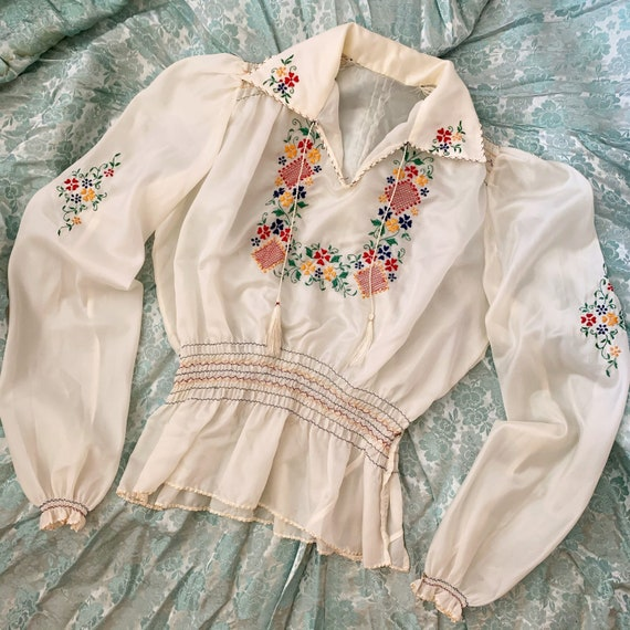 Rare 1940's Parachute Nylon Embroidered Folk Blous