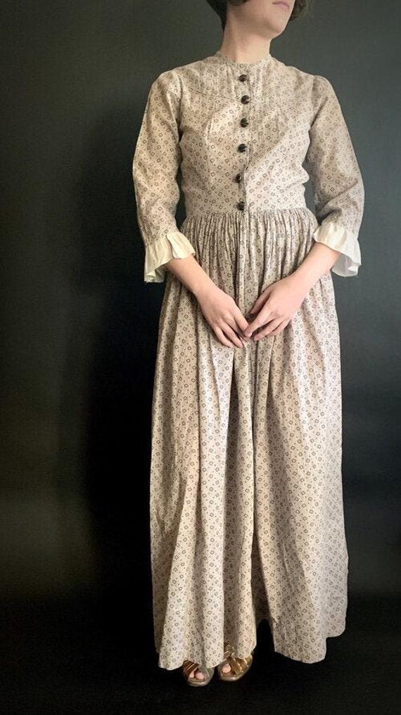 Edwardian Grey Calico Dress - Antique 1910s Black