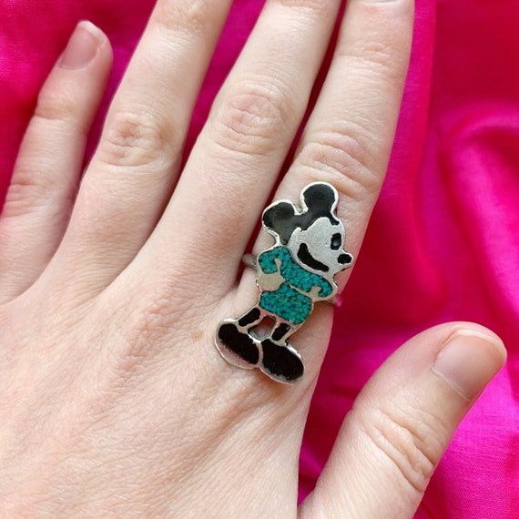 Zunitoon Mickey Mouse Ring - Vintage 1970's Southw