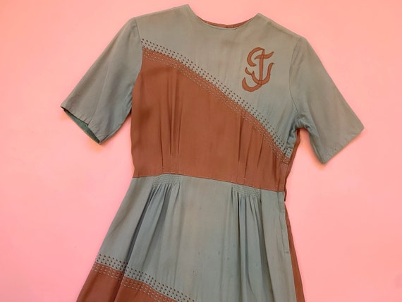 1940's Color Block Gabardine Dress - Vintage 40's