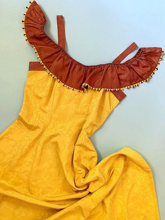 1940's Butterfly Pattern Moiré Party Dress - Vinta