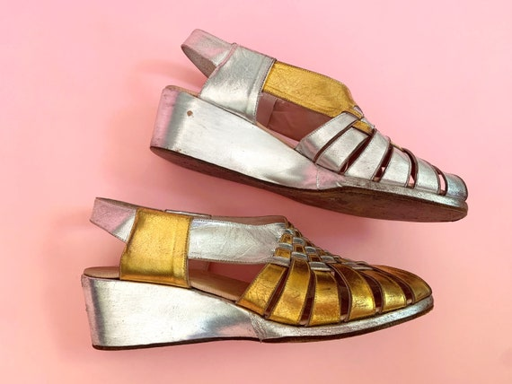 1940's Gold & Silver Sandals - Vintage 40's Two T… - image 8