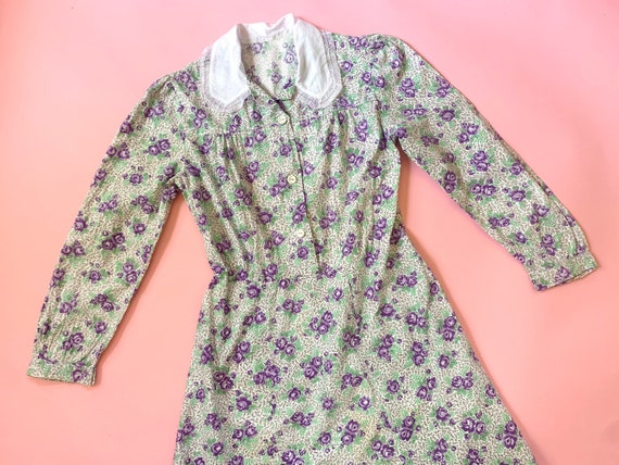 1930's Floral Cotton Day Dress - Vintage 30's Gree