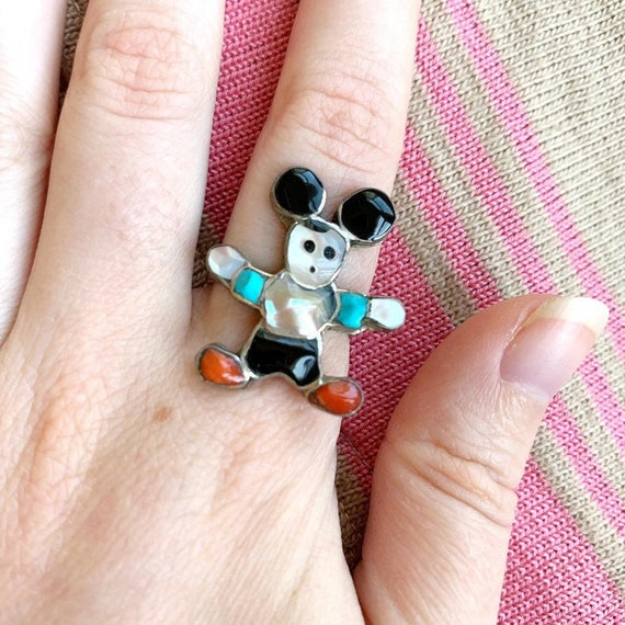 Zunitoon Mickey Mouse Ring - Vintage Zuni Toon Boo