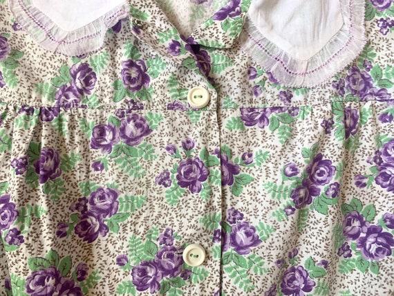 1930's Floral Cotton Day Dress - Vintage 30's Gre… - image 3