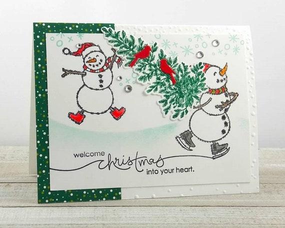 Handmade Christmas Card Images.Handmade Christmas Card Stampin Up Spirited Snowmen Welcome Christmas Whimsical Snowmen Bringing Home The Tree Ice Skater