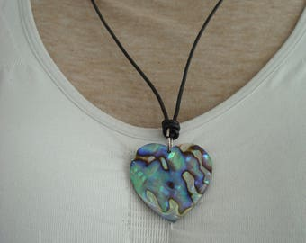 Black Leather with Heart Necklace with Translucent Heart Pendant,