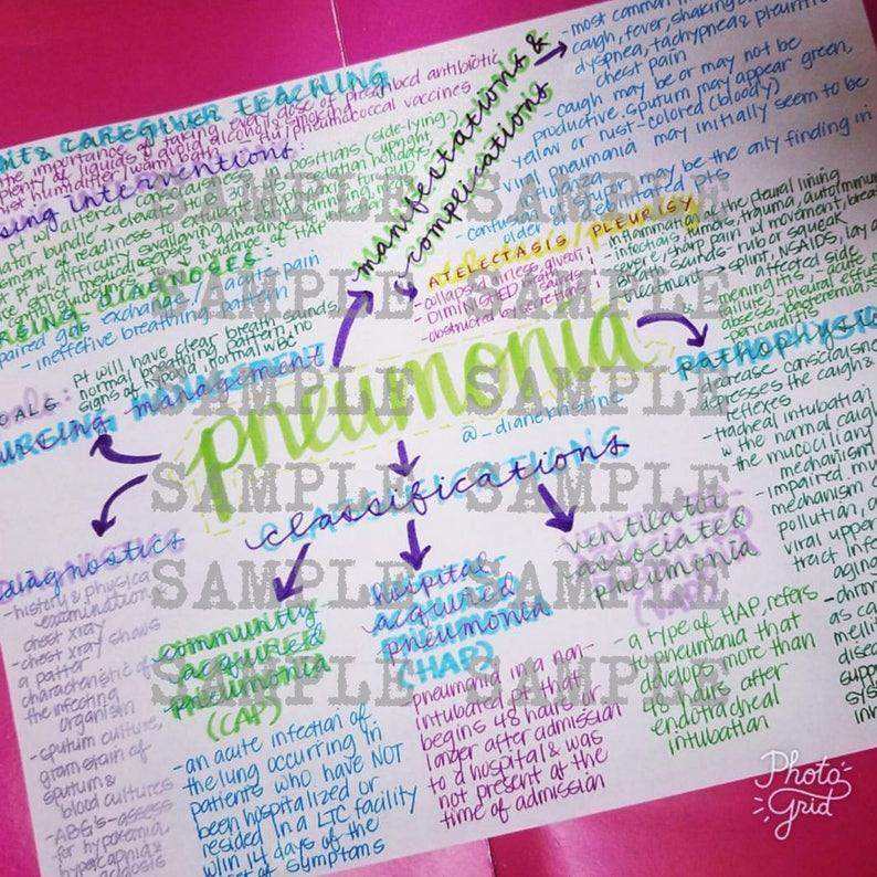 Pneumonia Nursing Notes Concept Map Medical Surgical Etsy