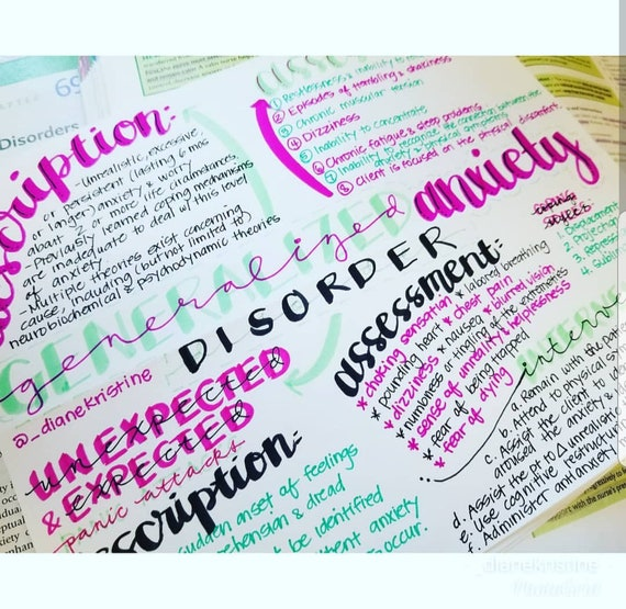 Generalized Anxiety Disorder- Nursing Notes/ Concept Map- Mental Health  Semester