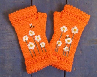 Orange Gloves, White & Yellow Flowers, Boho Mittens, Reading Gloves, Hand Knitted Mittens, Fingerless Gloves, Merino Wool Blend