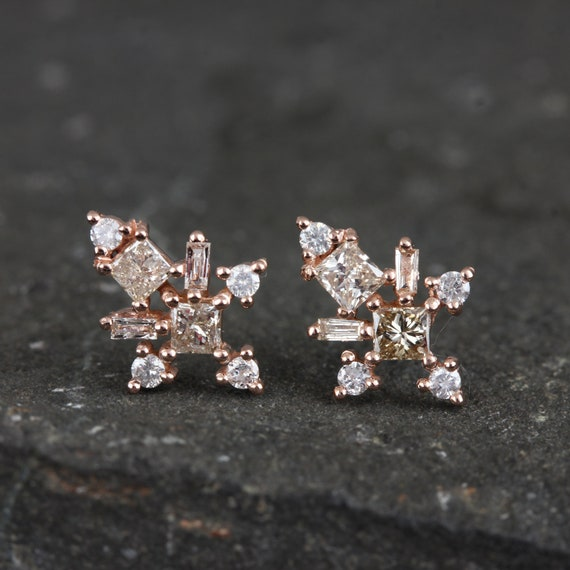 Special Women's Gift Real Ct Diamond Designer Star Shape Mini Stud Earrings Solid 14k Rose Gold Minimalist Fine Jewelry, Women's Jewelry