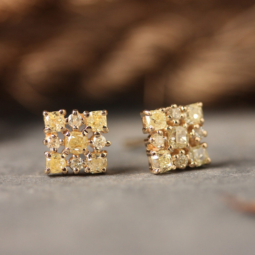 Natural 0.77 Ct. Diamond Stud Earrings Solid 14k Yellow Gold Handmade Fine Jewelry Christmas Day Gift