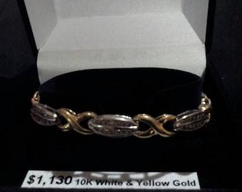 10K White and Yellow Gold 1.75 ct tw Diamond Bracelet