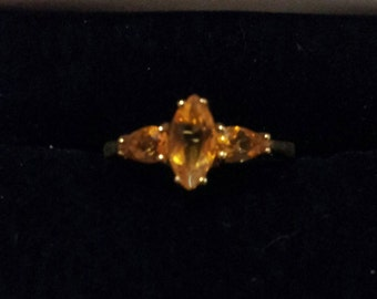 10K Gold and Yellow Citrine Ring, size 7