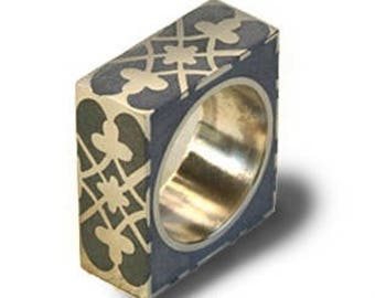 Concrete & Silver Praline ring