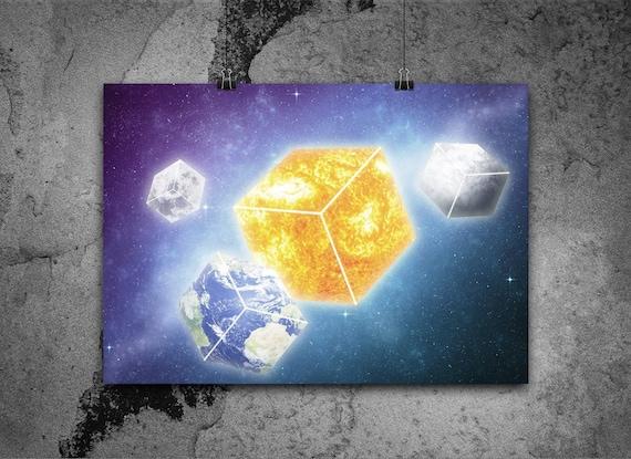 Space Art Print Minecraft Galaxy Fantasy Art Surreal Etsy