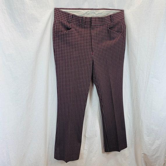 Vintage 70's Knit Polyester Disco Mod Retro Pants… - image 3