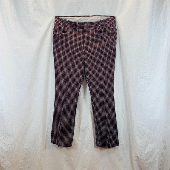 Vintage 70's Knit Polyester Disco Mod Retro Pants… - image 1