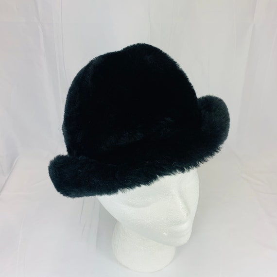 Vintage Black Faux Vegan Fur Fedora Bucket Hat - W