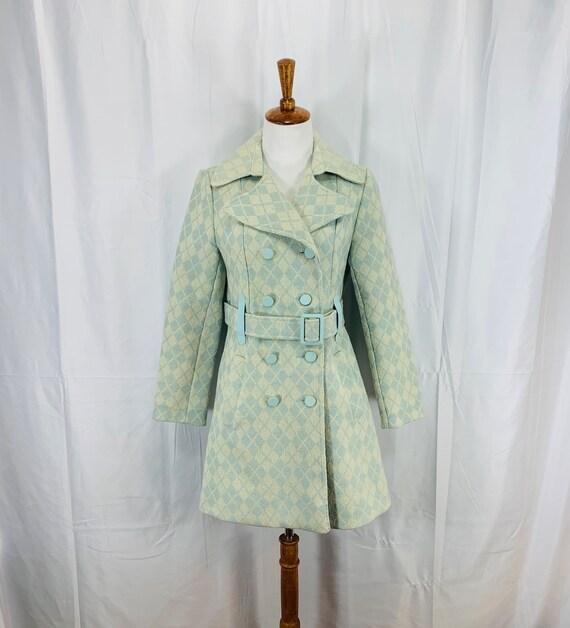 Vintage 60's Mod Wool Tweed Notched Collar Car Coa