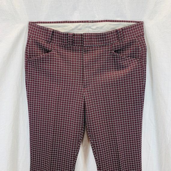 Vintage 70's Knit Polyester Disco Mod Retro Pants… - image 2