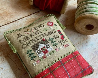 Heart in Hand A VERY MERRY CHRISTMAS Cross Stitch Pattern - Christmas Cross Stitch