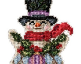 Mill Hill SNOWMAN WITH HOLLY 2021  Cross Stitch Kit - Christmas Cross Stitch Kit - Jim Shore Cross Stitch Kit