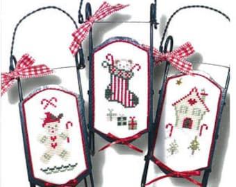 JBW Designs Little GREEN SLEDS Cross Stitch Pattern - Christmas Cross Stitch