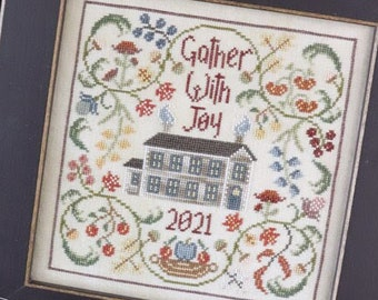 The Blue Flower  GATHER WITH JOY  Cross Stitch Pattern ~ Fall 2021 Needlework Expo