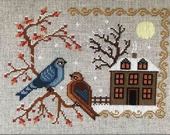 Twin Peak Primitives WINTER BIRDS Cross Stitch Pattern ~ Fall 2021 Needlework Expo