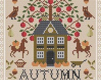 Dear Sukie AUTUMN SEASON Cross Stitch Pattern ~ Autumn Cross Stitch