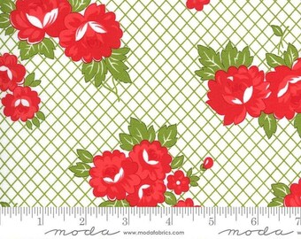 Sunday Stroll by Bonnie & Camille for Moda Fabrics – White Green Checkered Yardage - MODA FABRIC
