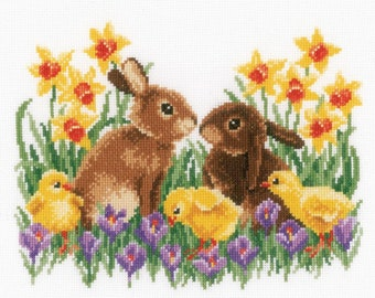 """Vervaco BUNNIES WITH CHICKS Cross Stitch Kit - Easter Cross Stitch Kit - 10.8""""X8.4"""" - 14 Count"""