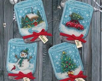Dimensions Cross Stitch Kit ~ VINTAGE JAR ORNAMENTS Cross Stitch Kit - Christmas Ornaments Cross Stitch Kit