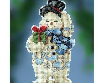 Mill Hill GIVING SNOWMAN Cross Stitch Kit - Christmas Cross Stitch Kit - Jim Shore Cross Stitch Kit