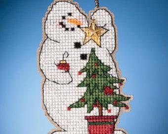 Mill Hill TRIMMING SNOWMAN Cross Stitch Kit -  Mill Hill 2021 Charmed Ornaments Cross Stitch Kit