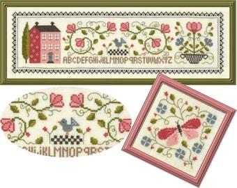 Jardin Prive' Composition Florale 2 Cross Stitch Pattern  - New Cross Stitch