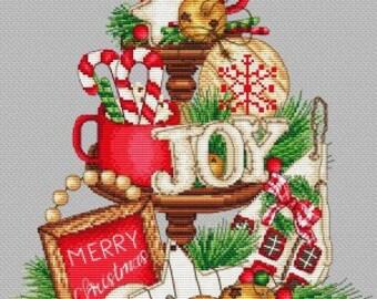 Les Petites Croix de Lucie CHRISTMAS SWEETS On a PLATTER  Cross Stitch Pattern - Christmas Cross Stitch