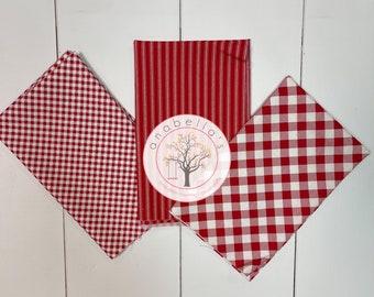BellaBundle™ - Priscilla's Pretty Plaids, Chelsea's Checks NEW Stripes 3 RED & White Fat QUARTERS ~  Henry Glass Fabrics