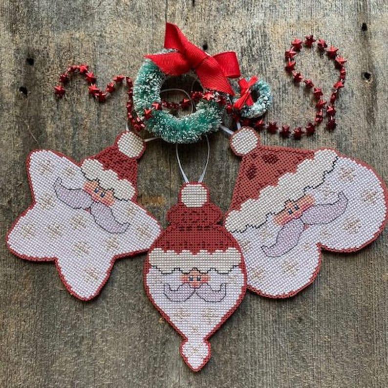 Luhu Stitches SANTA ORNAMENTS  Cross Stitch Pattern  Set of 3 image 1