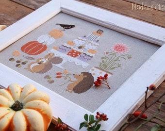 Madame Chantilly AUTUMN CORNER Cross Stitch Pattern ~ Autumn Cross Stitch ~ New Cross Stitch