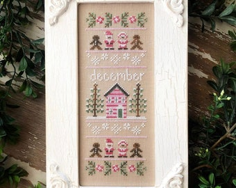 Country Cottage Needleworks SAMPLER of the MONTH DECEMBER Cross Stitch Pattern - Christmas  Cross Stitch